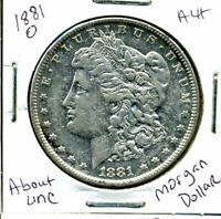 1881 O AU MORGAN DOLLAR 100 CENT  ABOUT UNCIRCULATED 90 SILVER US $1 COIN 1206