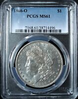 1886-O MORGAN SILVER DOLLAR - PCGS MINT STATE 61