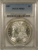 1887 MORGAN SILVER DOLLAR PCGS MINT STATE 63 CHOICE UNCIRCULATED BLAST WHITE NO TONING