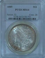 1885 MORGAN SILVER DOLLAR PCGS MINT STATE 64 NEAR GEM UNCIRCULATED GREAT LUSTER