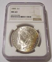 1885 MORGAN SILVER DOLLAR MINT STATE 63 NGC OBV COLOR CRESCENT
