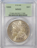 1886 MORGAN SILVER DOLLAR PCGS MINT STATE 63 CHOICE UNCIRCULATED OLD GREEN HOLDER OGH
