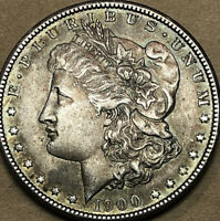 1900-P MORGAN DOLLAR AU, ALMOST UNCIRCULATED