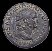 VESPASIAN. AD 69 79.  DUPONDIUS VICTORY HOLDING WREATH INSCR