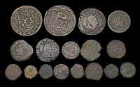 SPAIN. LOT OF 17 COINS MOSTLY C. 1700'S INCLUDING PROVINCIAL