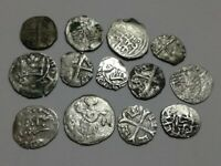 GREAT RARE SILVER LOT XIV XVII CENTURY MEDIEVAL COINS UNCLEA