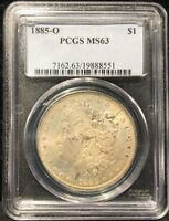 1885-O PCGS MINT STATE 63 MORGAN SILVER DOLLAR