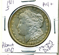 1921 S AU MORGAN DOLLAR 100 CENT  ABOUT UNCIRCULATED 90 SILVER US $1 COIN 3995