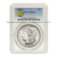 1888-S $1 SILVER MORGAN PCGS MINT STATE 66 PQ APPROVED GEM GRADED BLAST WHITE DOLLAR COIN