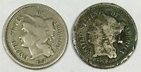 LOT OF  2  THREE III CENT PIECE COINS  1867 & 1868   1867 HA