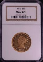 1892 $10 MINT STATE 61 DPL STUNNING COIN 1 OF ONLY 44 COINS IN THE WORLD.  DON'T WAIT.