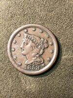 1853 COIN BRAIDED HAIR HALF CENT UNCERTIFIED