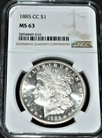 1885 CC MORGAN SILVER DOLLAR MINT STATE 63 NGC 5894849-016