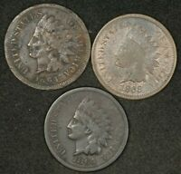 2X 1864   1868 INDIAN HEAD CENTS  LOT OF 3 COINS