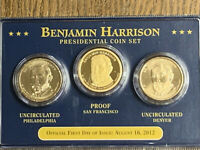 2012 FIRST DAY OF ISSUE BENJAMIN HARRISON PRESIDENTIAL $1 COIN SET P, D, S PROOF