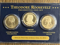 2013 FIRST DAY OF ISSUE THEODORE ROOSEVELT PRESIDENTIAL $1 COIN SET P, D,S PROOF
