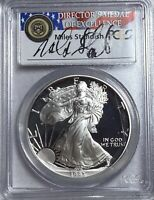 1993-P $1 SILVER EAGLE PCGS PROOF 69 DCAM MILES STANDISH SIGNED LABEL
