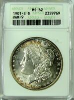 1901 S MORGAN SILVER DOLLAR, MINT STATE 62 ANACS, BEAUTIFUL COIN