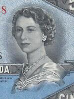 1954 BANK OF CANADA QEII $5   DEVILS FACE