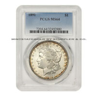 1891 $1 SILVER MORGAN PCGS MINT STATE 64 CHOICE GRADED PHILADELPHIA MINT DOLLAR