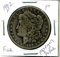 1902 P F MORGAN DOLLAR 100 CENT  FINE  90 SILVER US $1  OLD COIN 4070