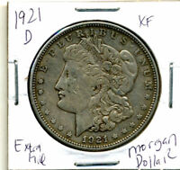 1921 D EXTRA FINE  MORGAN DOLLAR 100 CENT  EXTRA FINE 90  OLD SILVER US$1 COIN 3928