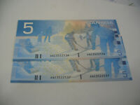 LOT OF 2  2002   CANADA  FIVE  5 $  DOLLAR BILL  2002  SEE PHOTOS  536 537
