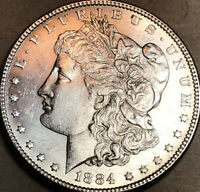 1884-P MORGAN DOLLAR CHOICE BU UNCIRCULATED, BRIGHT WHITE