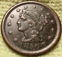 1850 BRAIDED HAIR LARGE CENT SMALL DATE AU DETAILS
