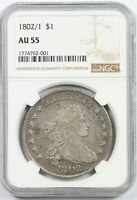 1802/1 $1 NGC AU 55 DRAPED BUST SILVER DOLLAR