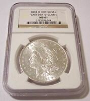 1883 O MORGAN SILVER DOLLAR VAM-36A HOT-50 E CLASH R6 MINT STATE 61 NGC