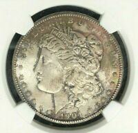 1904-O MORGAN SILVER DOLLARNGC MINT STATE 63 BEAUTIFUL TONED COIN REF34-054