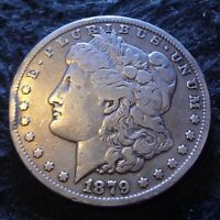 1879-CC MORGAN SILVER DOLLAR - SOLID FINE F DETAILS FROM THE CARSON CITY MINT