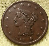 1841 N5 R3 BRAIDED HAIR LARGE CENT SMALL DATE FINE DETAILS