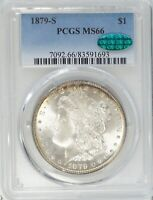 1879-S MORGAN DOLLAR PCGS MINT STATE 66 CAC GOLD/BLUE TONING