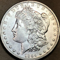 1884-S MORGAN DOLLAR CHOICE AU, ALMOST UNCIRCULATED, TOUGH DATE 2
