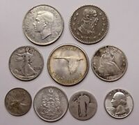 MIXED SILVER LOT  US WALKER SEATED HALF CANADA MEXICO   ALL