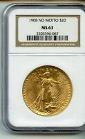 1908 $20 SAINT GAUDENS GOLD DOUBLE EAGLE NO MOTTO NGC MS63