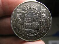 CANADA 1947 MAPLE LEAF SILVER 50 CENTS GEORGE VI