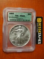 1993 $1 AMERICAN SILVER EAGLE ICG MINT STATE 69 GREEN LABEL