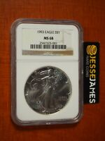 1993 $1 AMERICAN SILVER EAGLE NGC MINT STATE 68 CLASSIC BROWN LABEL