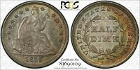 1839 SEATED LIBERTY NO DRAPERY HALF DIME PCGS MINT STATE 64 CAC - TRUEVIEW AWESOME LOOK
