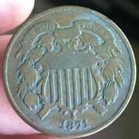 1871 TWO CENT PIECE |  FINE DETAIL | GREAT TYPE COIN