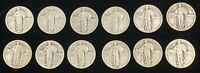 12 STANDING LIBERTY SILVER QUARTERS W/ DATES $3.00 FACE