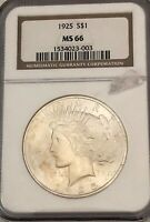 SALE ---1925- NGC MINT STATE 66, U.S. SILVER PEACE DOLLAR- SEE OTHER  COINS