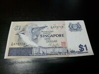SINGAPORE 1 DOLLAR 1976 P-9A UNC CURRENCY BANKNOTES MONEY