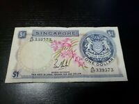 SINGAPORE 1 DOLLAR 1967 P-1A CURRENCY BANKNOTES MONEY