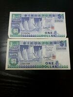 SINGAPORE 1 DOLLAR 1987 P-18 QTY OF 2 CURRENCY BANKNOTES MONEY