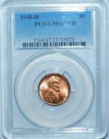 1948 D PCGS MINT STATE 67RD RED LINCOLN WHEAT CENT PENNY