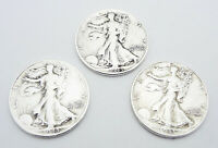 1943 US HALF DOLLAR SILVER COIN LOT OF 3 WALKING LIBERTY FRE